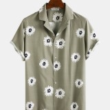 Little Daisy Print Turn Down Collar Casual Holiday Short Sleeve Shirts For Men Women