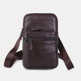 Men Genuine Leather Mini Shoulder Bag Crossbody Bag Phone Bag Waist Bag