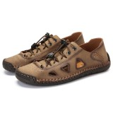 Men Hand Stitching Leather Non Slip Hollow Out Soft Sole Casual Flats