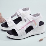 Women Mesh Stitching Hook Loop Casual Sports Wedge Sandals