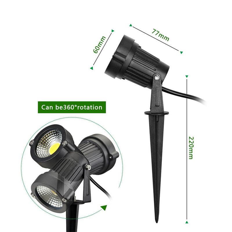 10W LED COB Lawn Light Garden Spotlights Outdoor Yard Waterproof Spike Landscape Lamp AC85-265V