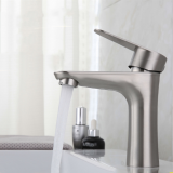 Stainless Steel Bathroom Basin Faucet Single Handle Single Hole Lead Free Hot And Cold Water Mixer Taps With Hoses