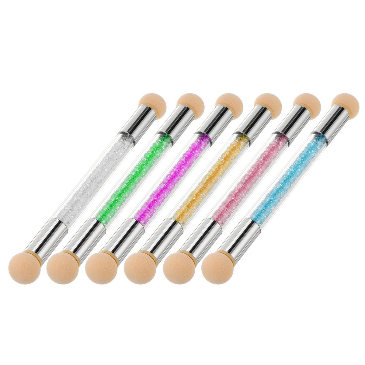 6Pcs Nail Tool Gradient Pen Halo Pen Light Therapy Point Color Glue Sponge Pen Double Head