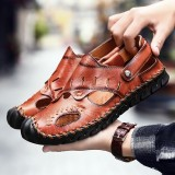 Men Genuine Leather Hand Stitching Hollow Out Casual Soft Sandals
