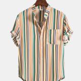 Mens Breathable Multicolor Vertical Stripe Chest Pocket Short Sleeve Shirts