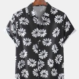 Men Abstract Daisy Floral Print Turn Down Collar Short Sleeve Black Shirts