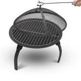 Folding Fire Pit Wood Burning Firepace BBQ Grill Steel Round Bowl w/Mesh Spark Screen Cover Lid, Log Grate, Poker for Patio Backyard Garden Camping Traveling Picnic Bonfire