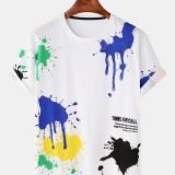 Men Graffiti Pigment Letter Print Crew Neck Breathable Short Sleeve T-Shirts