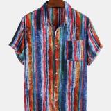 Men 65% Cotton Graffiti Color Striped Printed Casual Loose Lapel Short Sleeve Shirts