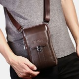 Men Genuine Leather 7 Inch Retro Phone Bag Waist Bag Belt Bag Crossbody Bag Sling Bag