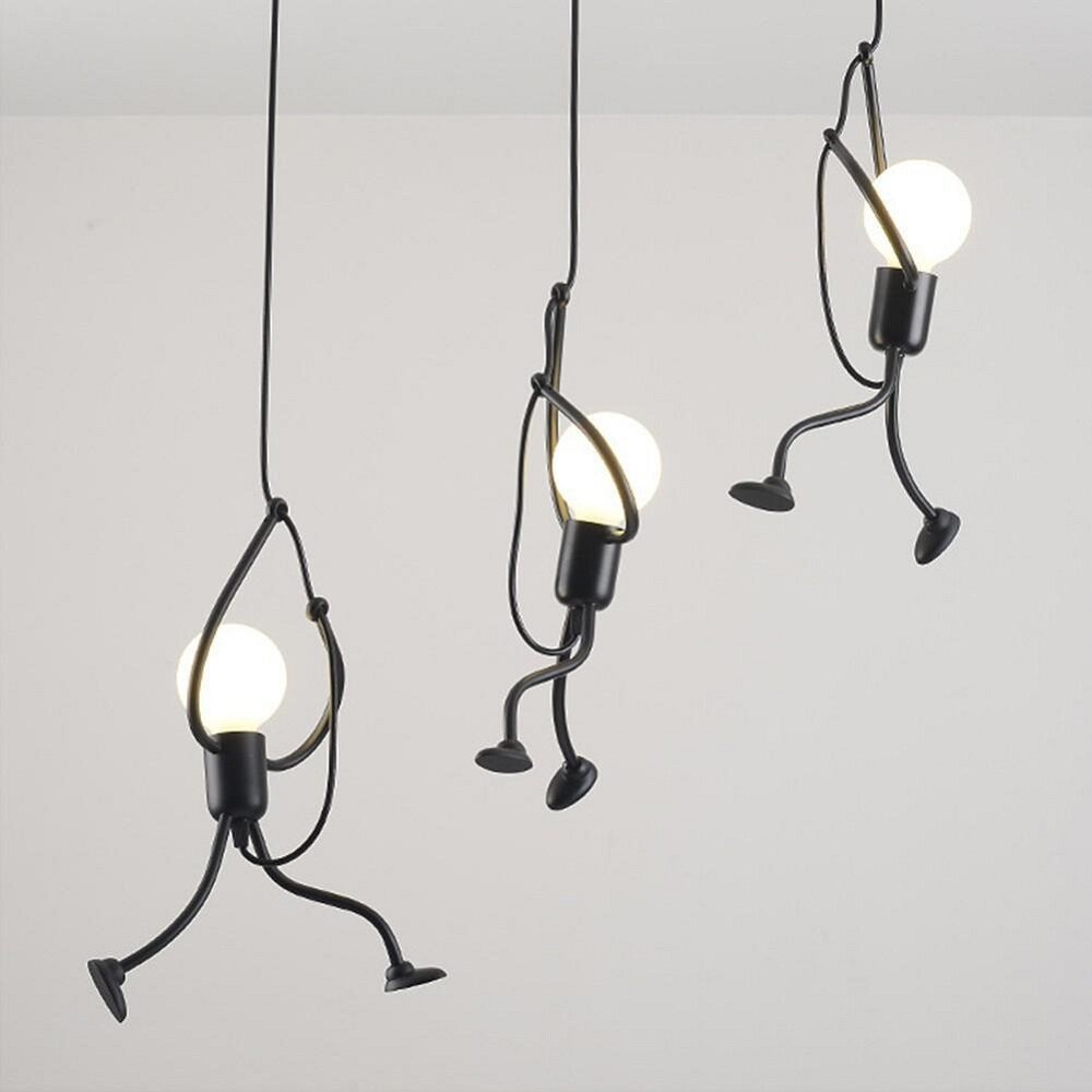 E27 Bulb 220V Modern Creative Hanging Pendant Lights Iron People Lamp Elegant Hanger Luminaire Adjustable Height