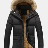 Mens Solid Color Fleece Lined Long Sleeve Thicken Detachable Faux Fur Collar Hooded Coats