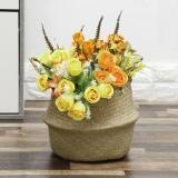 Folding Seagrass Storage Basket Home Decorative Rattan Plant Flower Pot Decor Handmade Woven Wicker Belly Toy Laundry Basket
