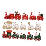 5 Knots Christmas Little Train Wooden Train with Snowman Bear Christmas Decorations for Home Ornaments Gift Kids Toys