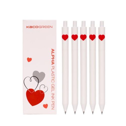 Kaco 5Pcs Heart Pattern Gel Pen Set LOVE Gel Pen Sign Pen 0.5mm Black Ink Ballpoint Pen Durable Signing Writing Pen