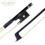 NAOMI 4/4 Violin Bow Carbon Fiber Violin Bow Ebony Frog Full Lined Abalone Slide Round Stick White Horse Hair Bow