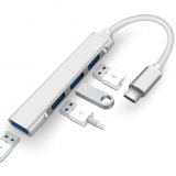 C-809 Mini Type-C Hub 4 in 1 3-Port USB2.0 1-Port USB3.0 HUB Splitter UFD 5Gbps High Speed Docking Station Charging USB Adapter Converter