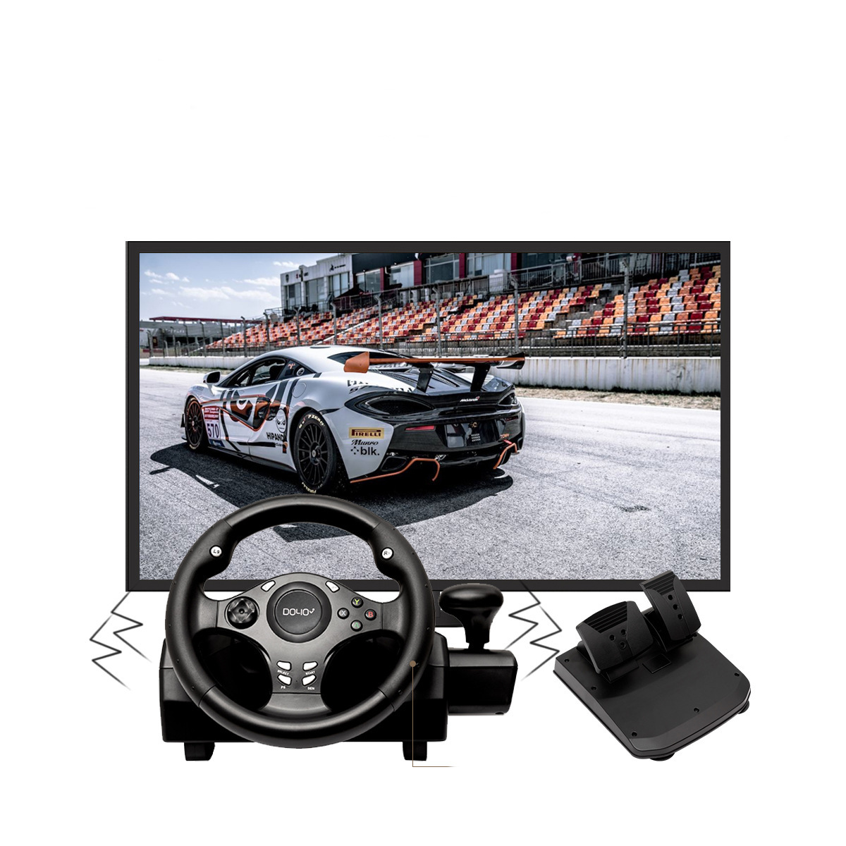 DOYO R270 PC All-in-one Racing Steering Wheel Simulator Driving Game Controller Vibrating Game Steering Wheel for PS4 PC for Xbox