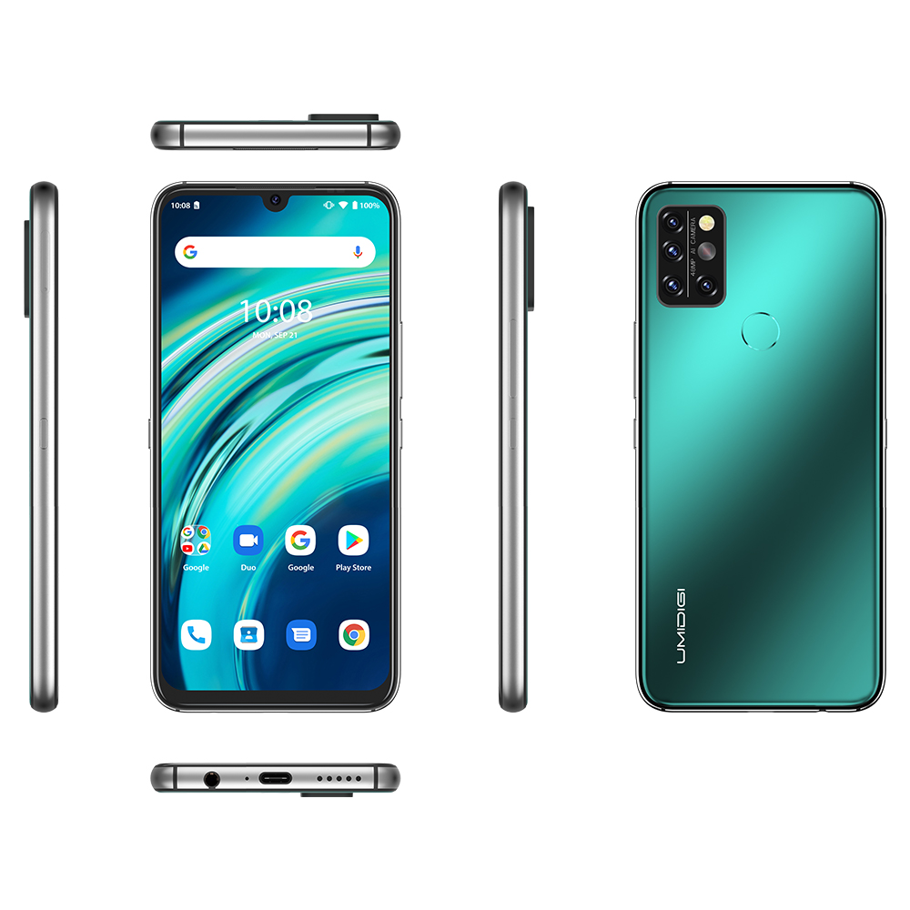 UMIDIGI A9 Pro Global Bands 6.3 inch FHD+ Infrared Thermometer 6GB 128GB Helio P60 Android 10 4150mAh 48MP AI Matrix Quad Camera 3 Card Slots 4G Smartphone