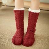 Women Warm Winter Outdoor Solid Color Plus Velvet Thicken Home Sleep Socks Tube Socks