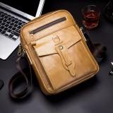 BULLCAPTAIN Men Genuine Leather Business Retro Solid Color Crossbody Bag Shoulder Bag