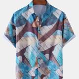 Mens Design Colorful Block Lapel Collar Hawaii Casual Short Sleeve Shirts