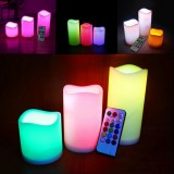 3PCS Waterproof Flameless LED Candles Timer Battery-operated Remote Control