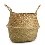 Seagrass Belly Basket 27×24 Handmade Storage Plant Pot Foldable Nursery Laundry Bag For Home Room Office Decor