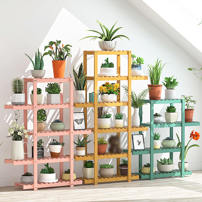 Plant Shelves Bamboo Potted Stand, Outdoor Plant Shelves