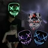 Halloween EL Glowing Mask Black V-shaped Blood Horror LED Face Mask Ghost Face Fluorescent Aatmosphere Props
