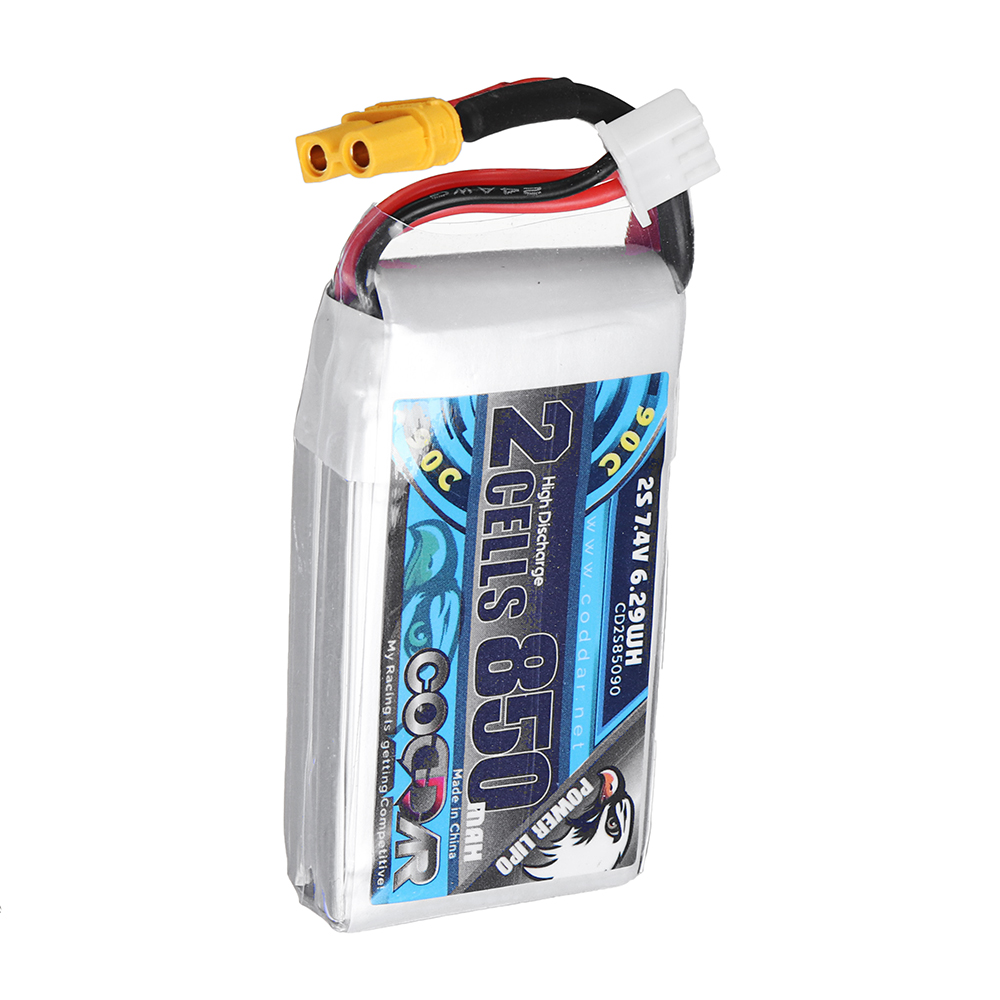 CODDAR 7.4V 850mAh 2S 90C High Discharge Lipo Battery XT30 Plug for RC Drone