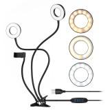 S2 Dual Ring Lights Fill Lights 3 Colors Adjustable Brightness USB Power Supply Live Selfie Lights with Phone Holder