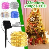 22M 200LED Solar String Fairy Light Warm White/White/Colorful/Pink/Blue Lawn Lamp Wedding Party Christmas Garden Decor