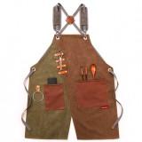 Cowboy Denim Apron Shop Apron Pockets Waxed Wax Cloth Waterproof Apron Woodworking Chef Tool Storage
