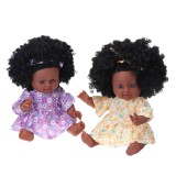 12Inch Soft Silicone Vinyl PVC Black Baby Fashion Doll Rotate 360 African Girl Perfect Reborn Doll Toy for Birthday Gift