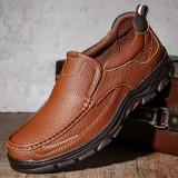 Menico Men Outdoor Sport Cowhide Leather Slip Resistant Soft Hiking Shoes