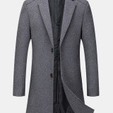 Mens Woolen Windproof Mid-Length Single-Breasted Business Trench Coats