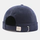 Men Retro Corduroy Solid-color Brimless Hats Caps Skull Caps
