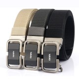 AWMN Men 125CM Nylon Tactical Belt Outdoor Leisure Canvas Waist Belts with Automatic Alloy Buckle