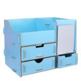 Makeup Organizer with Mirror Drawer DIY Desktop Creative Wooden Storage Box Home Dormitory Desktop Storage Supplies