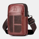 Men Genuine Leather Retro Business Casual Solid Color Leather Cowhide Multi-carry Waist Bag Crossbody Bag