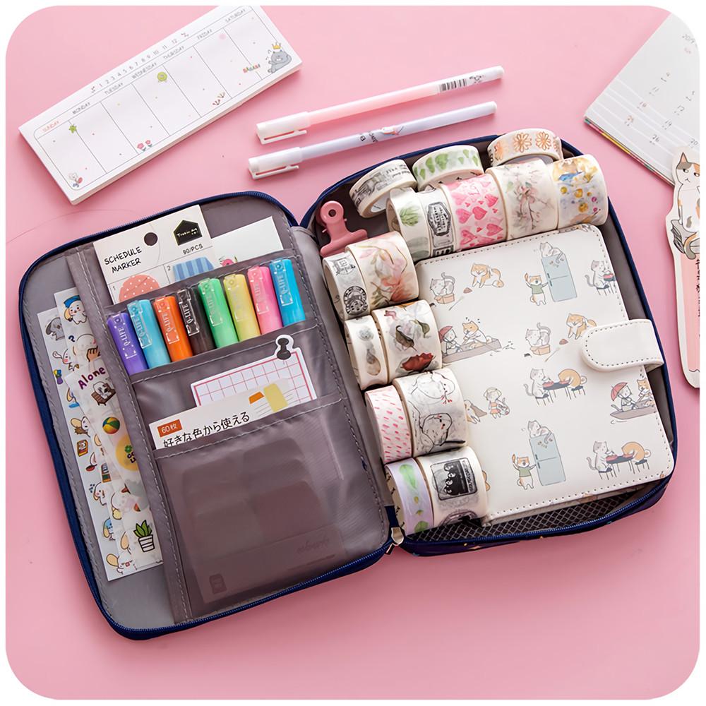 4 Colors Pencil Case Large Capacity Canvas Open Zipper School Pen Case Storage Bag Stationery School Students Supplies