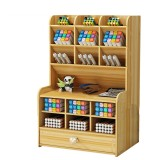 Wooden Pencil Pen Holder Storage Box Desktop Organizer Tilting Desktop Stationary Home Office Supplies Storage Rack with Drawer