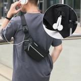 Men Polyester Earphone Hole Multi-carry Waterproof Casual Crossbody Bag Chest Bag Sling Bag