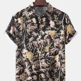 Hawaii Beach Style Mens Tropical Leaves Short Sleeve Lapel Collar Shirts