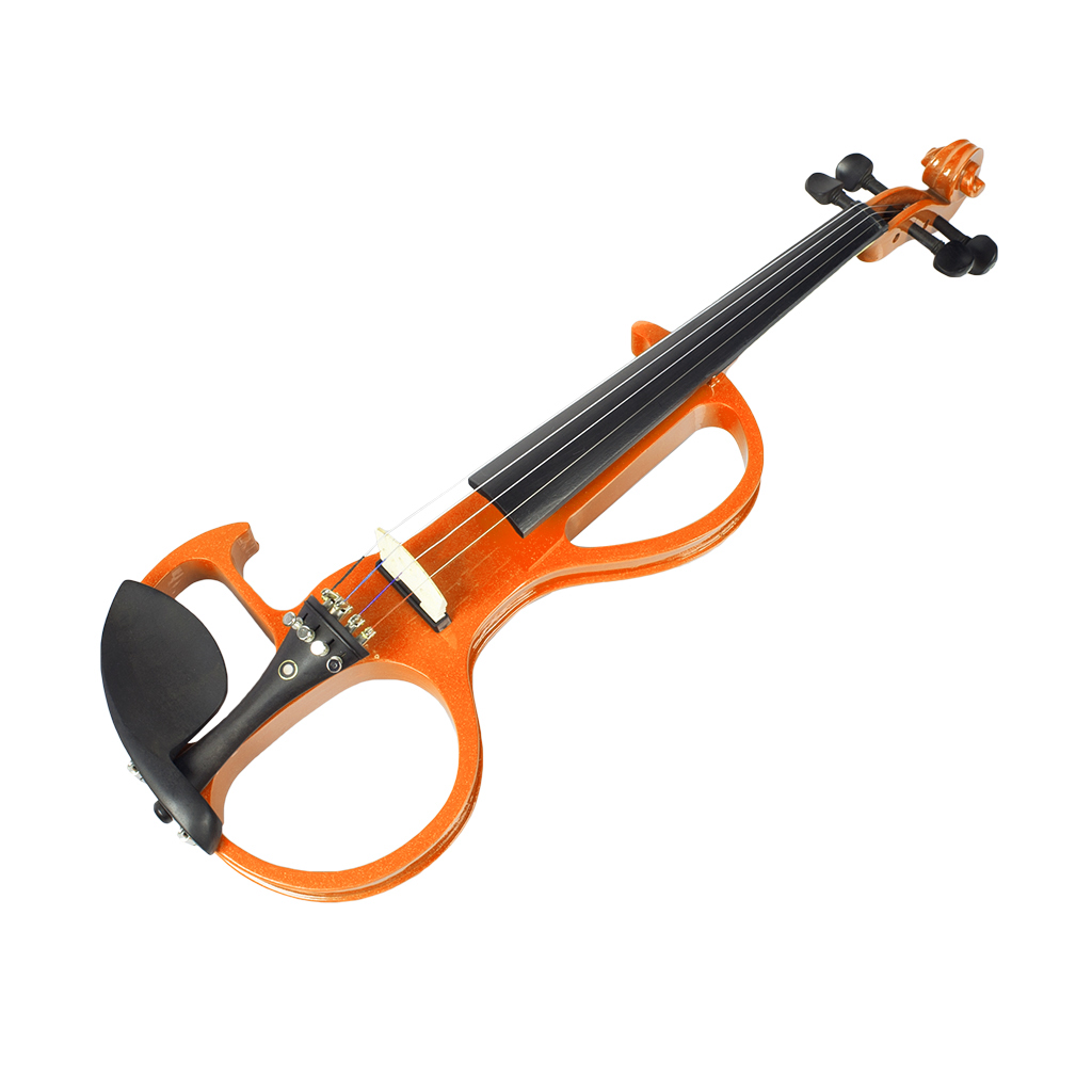 NAOMI 4/4 Full Size Electric Violin Fiddle 4 String Violin with Ebony Fittings, Carrying Case, Audio Earphone, Cable, Bow