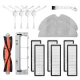 15pcs Replacements for Xiaomi Mijia 1C Vacuum Cleaner Parts Accessories Main Brush*1 Side Brushes*4 HEPA Filters*6 Main Brush Cover*1 Mop Clothes*2 Cleaning Tool*1