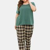 Plus Size Women Solid Color Short Sleeve Top Plaid Print Two Piece Home Pajama Set