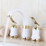 3Pcs Bathroom Faucet 2 Lever Handles Widespread Bathroom Basin Water Mixer Tap With Pops-Up Drain