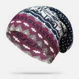 Women Cashmere Dual-purpose Ethnic Style Pattern Contrast Color Keep Warm Outdoor Beanie Turban Scarf